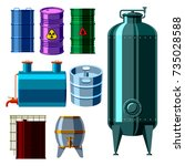 oil drums container fuel cask... | Shutterstock .eps vector #735028588