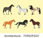 Stock vector horses different breeds animal characters vector illustration 735029323