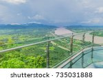 Soft focus Thai skywalk, the beautiful sky and cloud at Mekong river, international border between Sangkhom district, Nong Khai Province, Thailand and  Laos PDR.