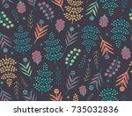 seamless autumn vector floral...   Shutterstock .eps vector #735032836