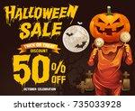 halloween sale  pumpkins  treat ... | Shutterstock .eps vector #735033928