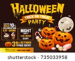 halloween party  pumpkins ... | Shutterstock .eps vector #735033958