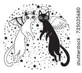 halloween witch's cats. vector... | Shutterstock .eps vector #735035680