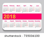 2018 pocket calendar. template... | Shutterstock .eps vector #735036100