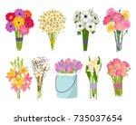 flowers brunch bouquet set... | Shutterstock .eps vector #735037654