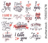 i love you text logo phrases... | Shutterstock .eps vector #735037678