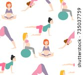 pregnancy sport fitness people... | Shutterstock .eps vector #735037759