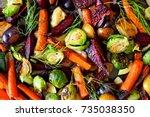 full background of roasted... | Shutterstock . vector #735038350