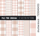 pale pink gingham and buffalo... | Shutterstock .eps vector #735040453