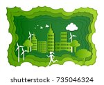 a girl is running in the green... | Shutterstock .eps vector #735046324