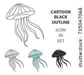 jelly fish icon in cartoon... | Shutterstock .eps vector #735047068