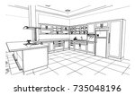black and white  kitchen sketch ... | Shutterstock .eps vector #735048196