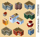 Set of Isometric Buildings. Compose your own city - stock vector