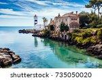 santa marta lighthouse and... | Shutterstock . vector #735050020