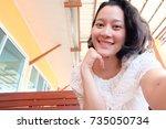 selfie asian woman  self...   Shutterstock . vector #735050734