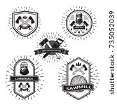 badges with elements of a... | Shutterstock .eps vector #735052039