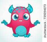 happy cool cartoon fat monster. ... | Shutterstock .eps vector #735054073