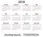 calendar for 2018 on white... | Shutterstock .eps vector #735055024