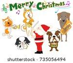 dog's christmas concert. | Shutterstock .eps vector #735056494