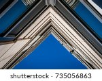 urban geometry  looking up to... | Shutterstock . vector #735056863