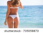 beautiful woman in bikini... | Shutterstock . vector #735058873