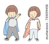 vector illustration of little... | Shutterstock .eps vector #735059458