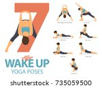 a set of yoga postures female... | Shutterstock .eps vector #735059500