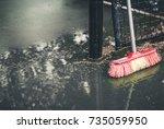 tennis court after rain. tennis ... | Shutterstock . vector #735059950