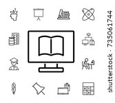 online book on pc icon on white ... | Shutterstock .eps vector #735061744