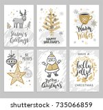 christmas hand drawn cards with ... | Shutterstock .eps vector #735066859