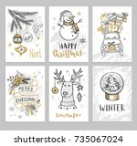 christmas hand drawn cards with ... | Shutterstock .eps vector #735067024