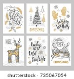 christmas hand drawn cards with ... | Shutterstock .eps vector #735067054
