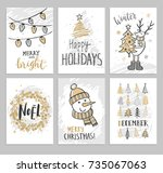 christmas hand drawn cards with ... | Shutterstock .eps vector #735067063