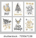 christmas hand drawn cards with ... | Shutterstock .eps vector #735067138
