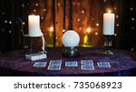 fortune telling table with a... | Shutterstock . vector #735068923