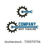 gear with wrench garage symbol... | Shutterstock .eps vector #735070756