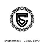 shield letter cs with circle... | Shutterstock .eps vector #735071590