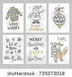christmas hand drawn cards with ... | Shutterstock .eps vector #735073018