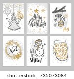 christmas hand drawn cards with ... | Shutterstock .eps vector #735073084