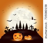 halloween background. dark...   Shutterstock .eps vector #735080158