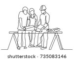 continuous line drawing of  ... | Shutterstock .eps vector #735083146