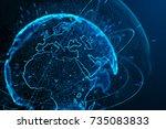 earth planet futuristic... | Shutterstock . vector #735083833