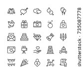 wedding icon set. collection of ... | Shutterstock .eps vector #735087778