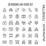 wedding icon set. collection of ... | Shutterstock .eps vector #735087784