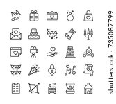 wedding icon set. collection of ... | Shutterstock .eps vector #735087799