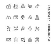 wedding icon set. collection of ... | Shutterstock .eps vector #735087814