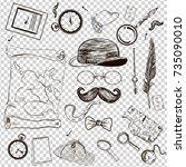 victorian era collection ... | Shutterstock .eps vector #735090010