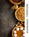 fall traditional pies pumpkin ... | Shutterstock . vector #735091183