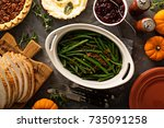 green beans with bacon  side... | Shutterstock . vector #735091258