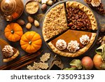 fall traditional pies pumpkin ... | Shutterstock . vector #735093139